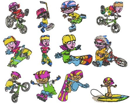 Rocket Power Embroidery Designs Pack Comic Newspaper Strip